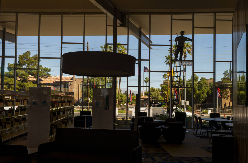 Exterior windows are cleaned as work continues on the new East Las Vegas Library, Las Vegas-Cla ...