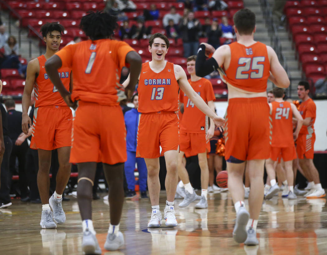 Bishop Gorman's Braden Lamar (13) celebrates his team's win against Findlay Prep in the annual ...