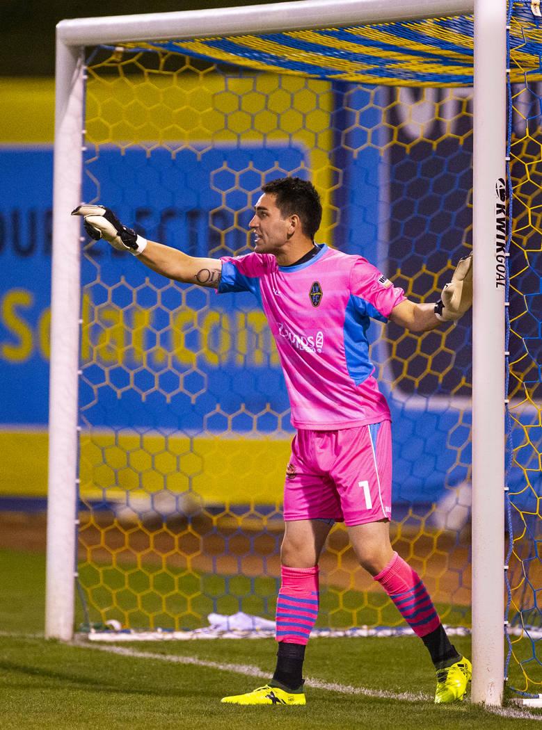 Las Vegas Lights FC goalkeeper Thomas Olsen (1) directs his teammates during their game versus ...