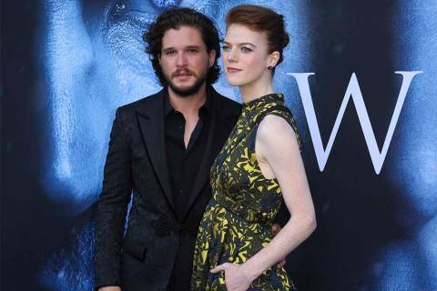 In this July 12, 2017, file photo, Kit Harington, left, and Rose Leslie arrive at the LA Premie ...