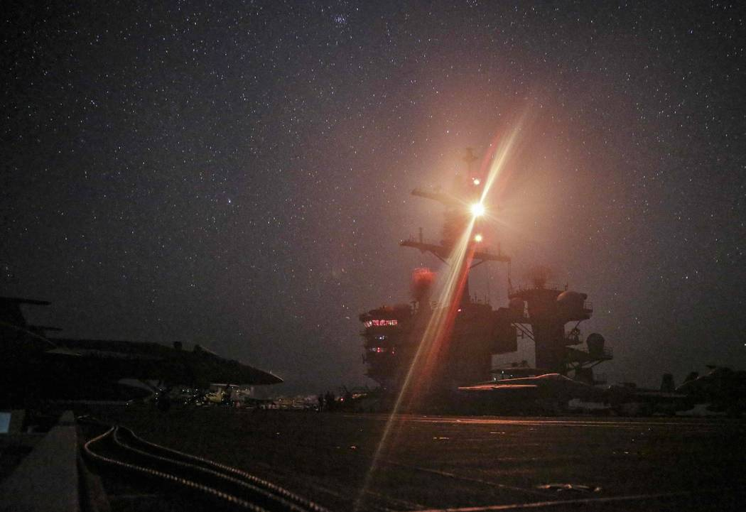 In this photo taken on Sunday, May 26, 2019 photo released by U.S. Navy, The Nimitz-class aircr ...