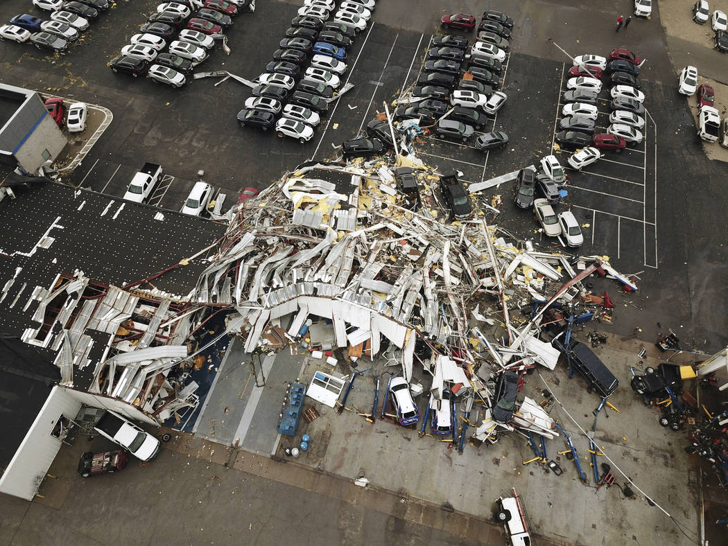 This aerial image shows severe storm damage in Jefferson City, Mo., Thursday, May 23, 2019, aft ...