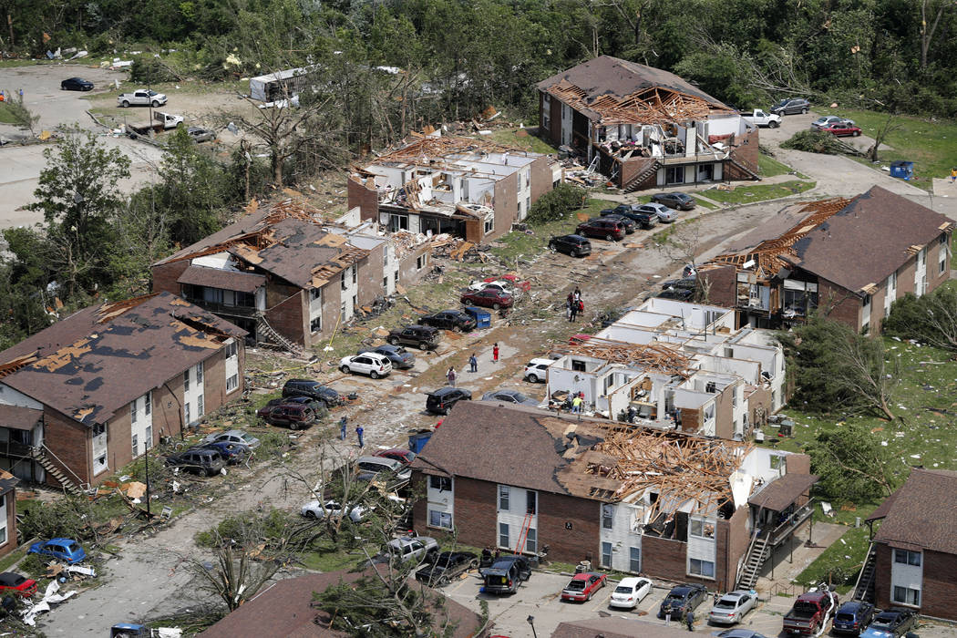 Tornado damage is seen May 23, 2019, in Jefferson City, Mo. Eight years to the day after a dev ...