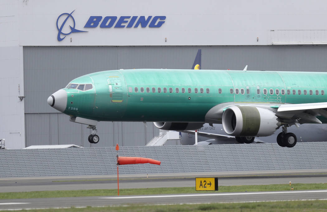 In an April 10, 2019, photo, a Boeing 737 Max 8 airplane being built for India-based Jet Airway ...
