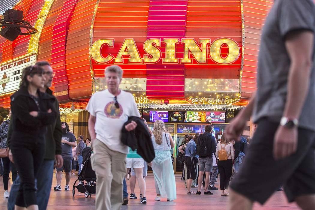 Fremont Street in downtown Las Vegas. (Benjamin Hager Review-Journal) @BenjaminHphoto