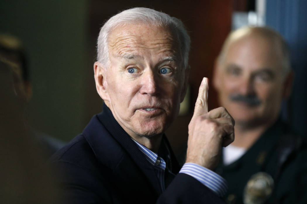 Former vice president and Democratic presidential candidate Joe Biden interacts May 13, 2019, w ...