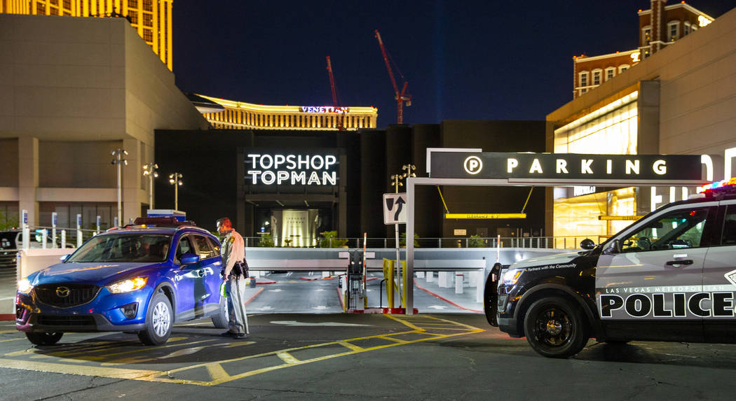 The Fashion Show mall on the Strip was evacuated Monday, May 27, 2019, in Las Vegas. (L.E. Bask ...