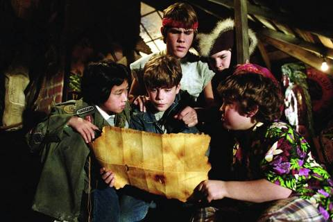 "From left, Jonathan Ke Quan, Sean Astin, Josh Brolin, Corey Feldman and Jeff Cohen star in ""The ..."