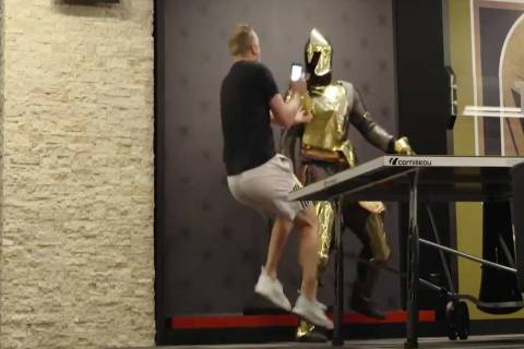 Golden Knights' Ryan Reaves dressed as a knight statue scares teammate Nate Schmidt. (Screen ca ...