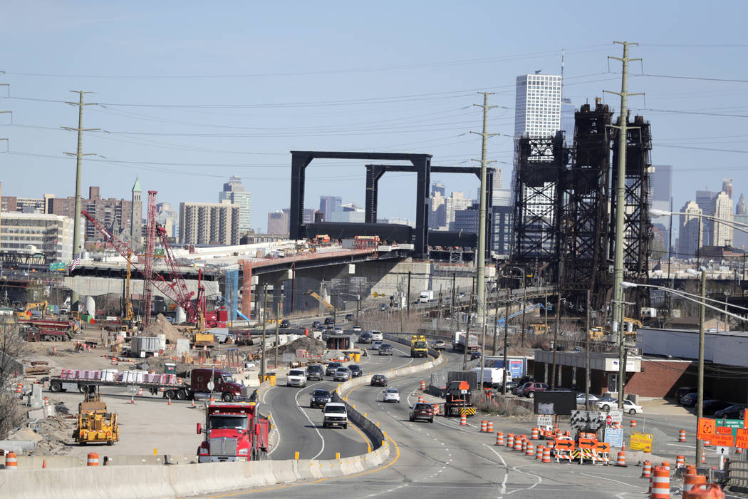 An April 17, 2019, file photo shows the construction site of the new Route 7 drawbridge in Kear ...