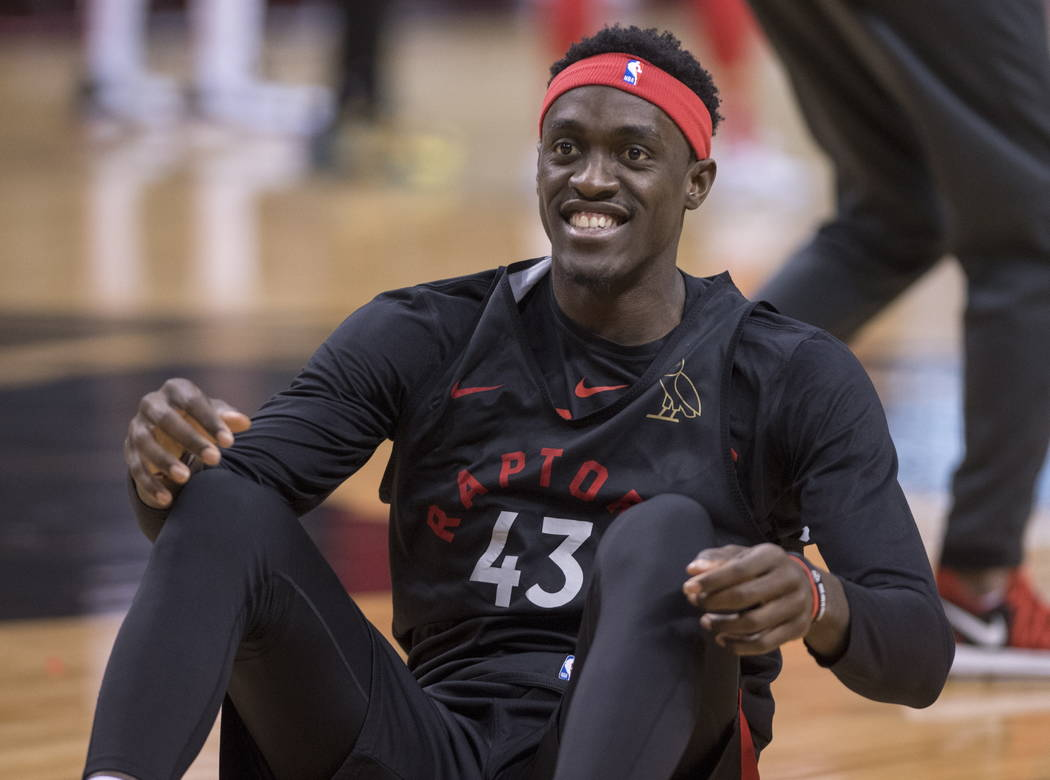Toronto Raptors' Pascal Siakam smiles during practice for the NBA Finals in Toronto on Wednesda ...