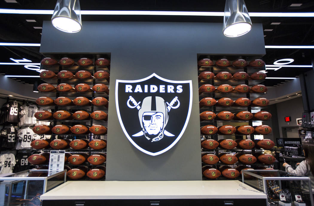 A view of the Raiders logo at The Raider Image store at the Galleria at Sunset mall in Henderso ...