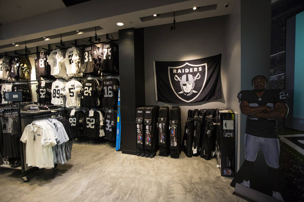 A variety of Raiders apparel and other items at The Raider Image store at the Galleria at Sunse ...