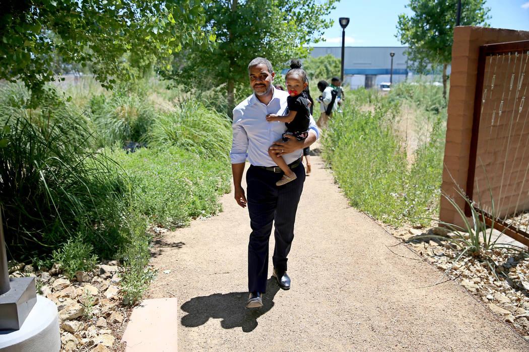 U.S. Rep. Steven Horsford, D-Nev., walks the Kiel Ranch Historic Park in North Las Vegas with R ...