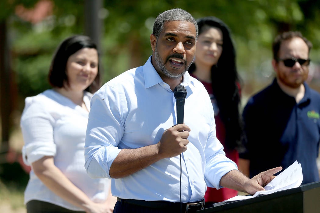 U.S. Rep. Steven Horsford, D-Nev., speaks during a press conference on the Land and Water Conse ...