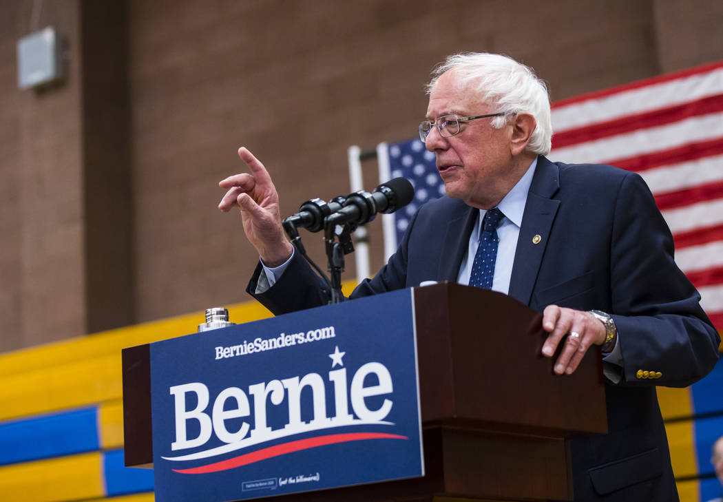 Democratic presidential candidate Sen. Bernie Sanders, I-Vt., speaks during a town hall event a ...