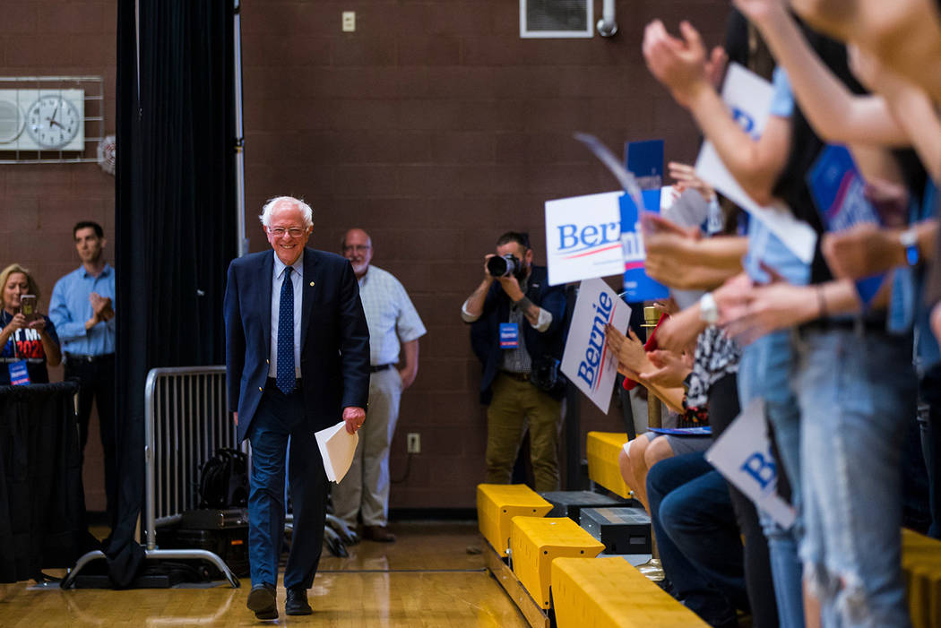 Bernie Sanders arrives to speak at a town hall event at Roy W. Martin Middle School in Las Vega ...