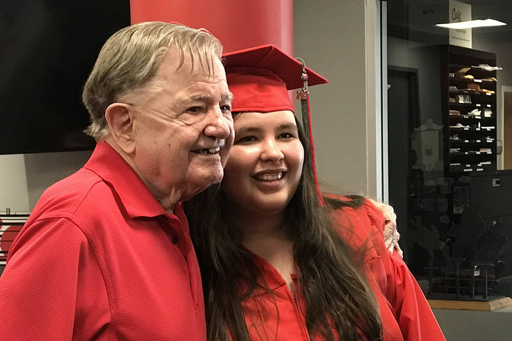 "Joseph ""Joe"" Kelly and his granddaughter, Kimberly Ann Johnson, at her graduation from UNLV on ..."