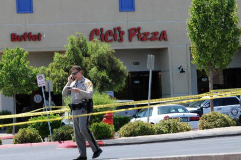The scene at Cicis Pizza near Nellis Boulevard and Stewart Avenue, where two Las Vegas police o ...