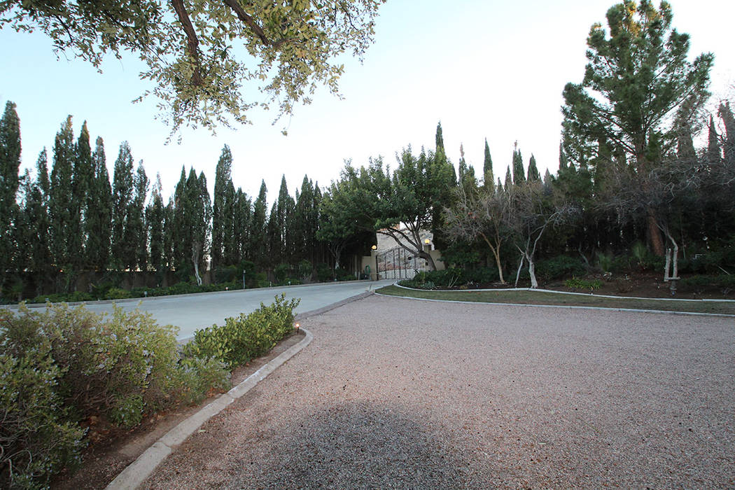 The 2.2-acre gated private lot features lush landscaping. (Mt. Charleston Realty)