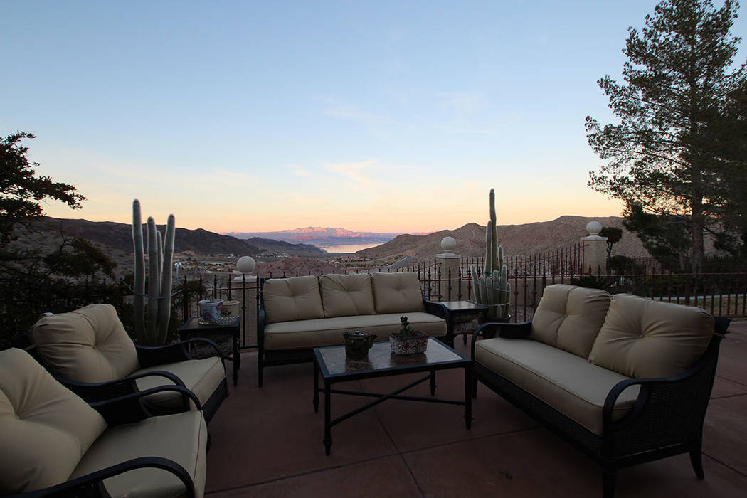 The patio with its view of Lake Mead is a favorite sitting place. (Mt. Charleston Realty)