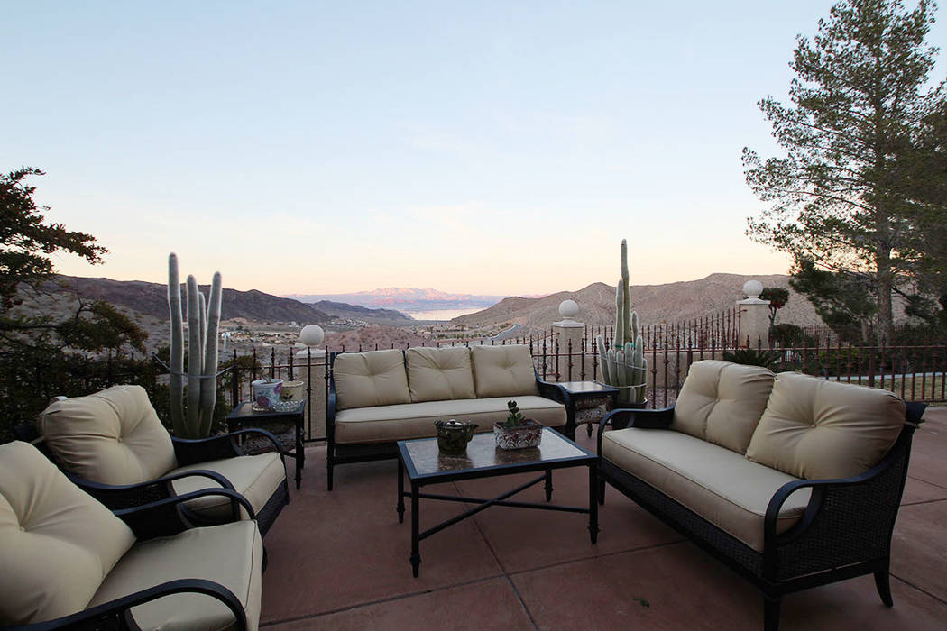 Mt. Charleston Realty The patio with its view of Lake Mead is a favorite sitting place.