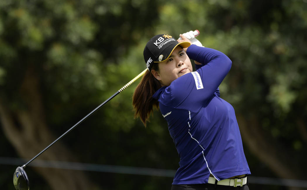 Inbee Park, of South Korea, tees off on the sixth hole during the third round of the Hugel-Air ...