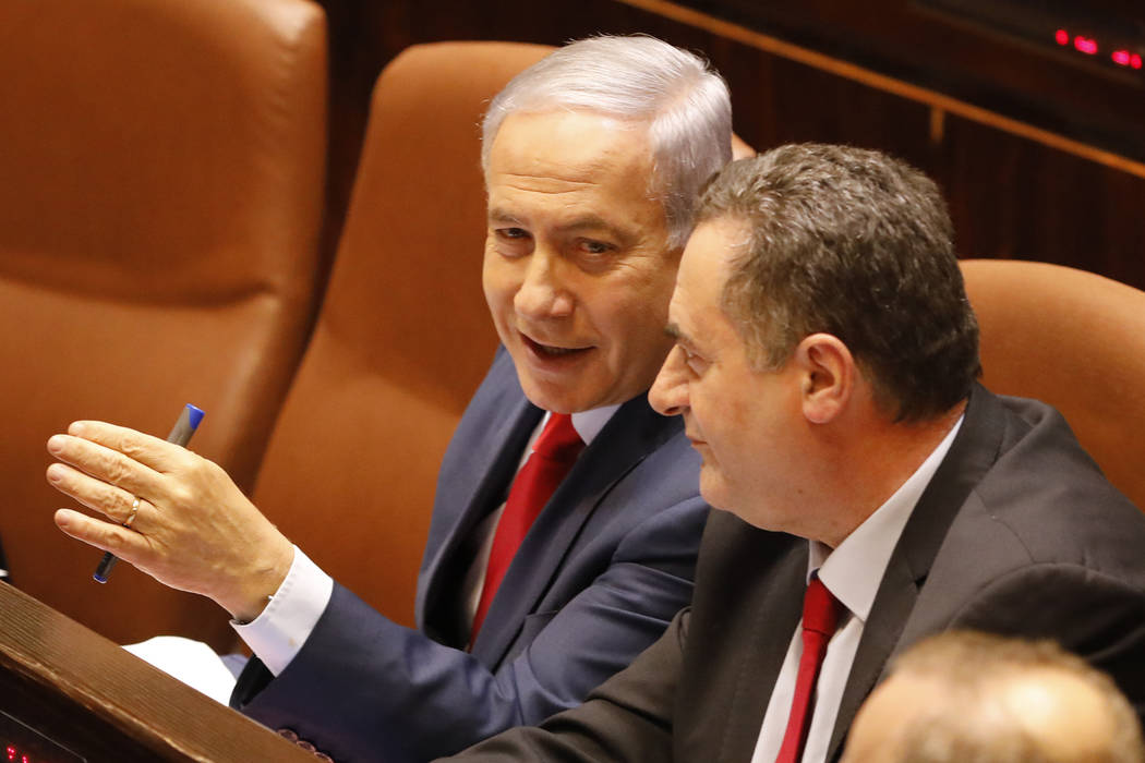 Israeli Prime Minister Benjamin Netanyahu before voting in the Knesset, Israel's parliament in ...