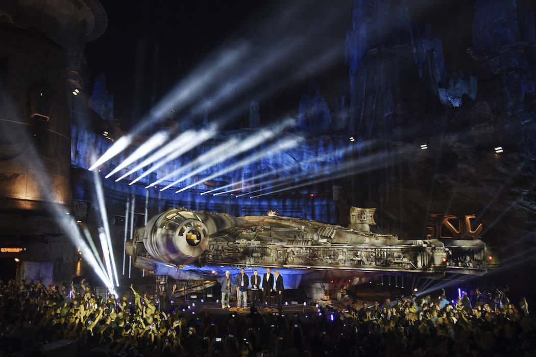 The Millennium Falcon starship is pictured onstage during a dedication ceremony for the new Sta ...