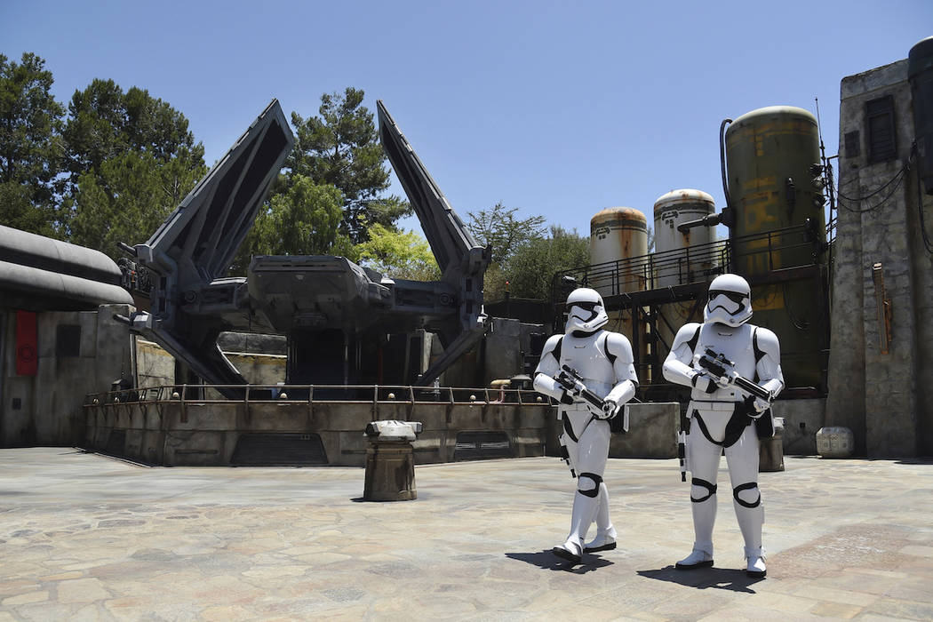 Stormtroopers patrol the Tie Echelon Stage during the Star Wars: Galaxy's Edge Media Preview at ...