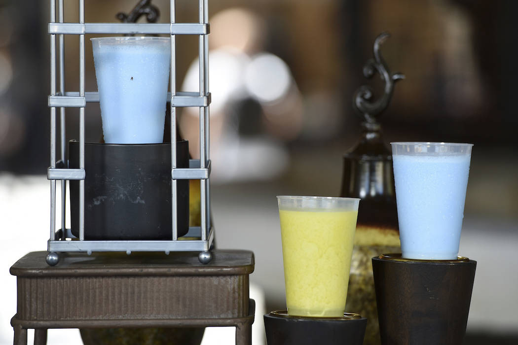"""Blue Milk and Green Milk drinks, as seen in """"Star Wars"""" films, are pictured in the Bl ..."""