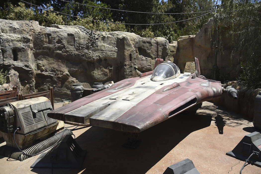 An A-wing interceptor starfighter is displayed during the Star Wars: Galaxy's Edge Media Previe ...