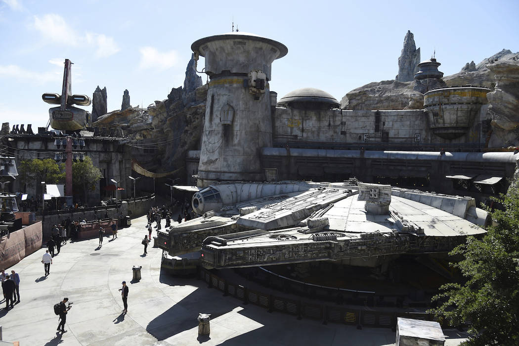 The Millennium Falcon structure is pictured during the Star Wars: Galaxy's Edge Media Preview a ...