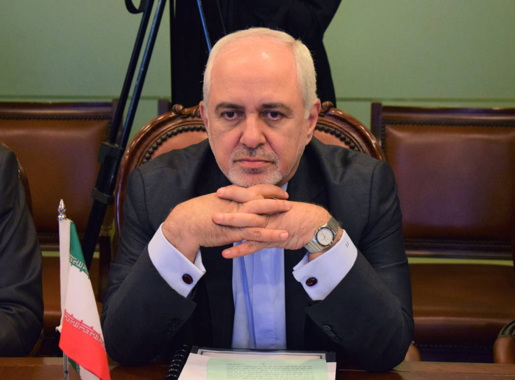 In this photo released by the Foreign Office, Iranian Foreign Minister Mohammad Javad Zarif, at ...