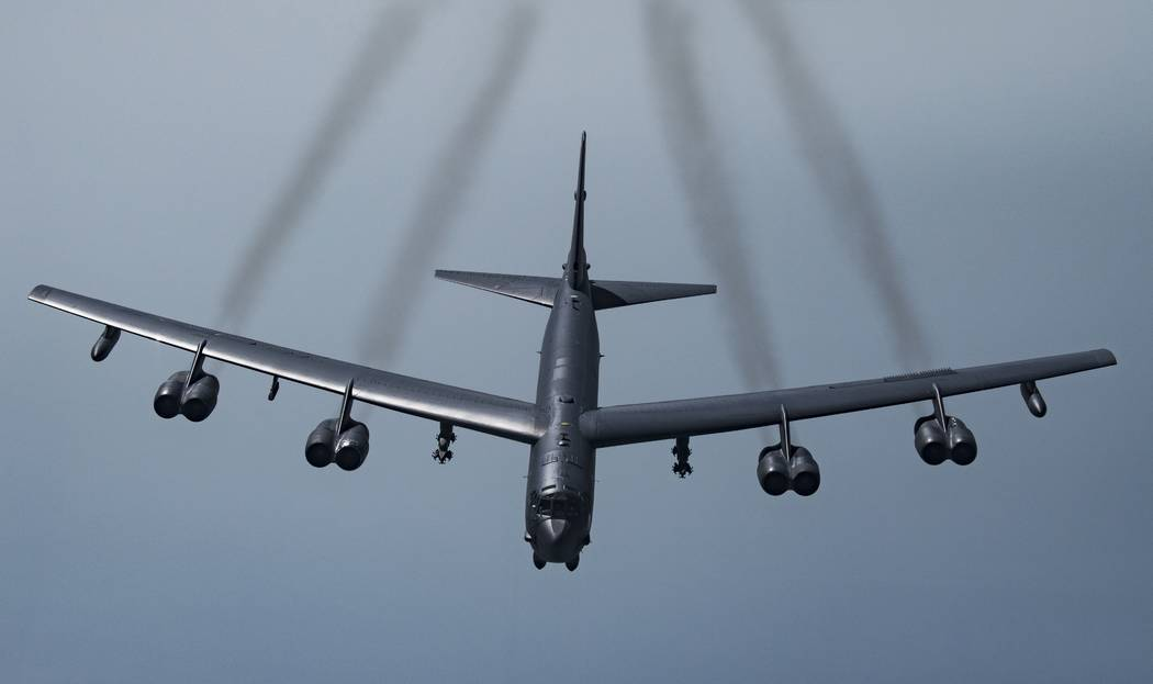 In this Tuesday, May 21, 2019 photo, provided by the U.S. Air Force, a U.S. B-52H Stratofortres ...