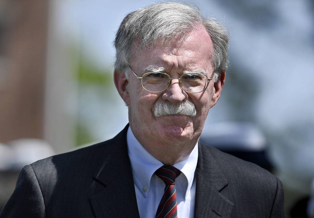 National Security Adviser John Bolton arrives to speak at the commencement for the United State ...
