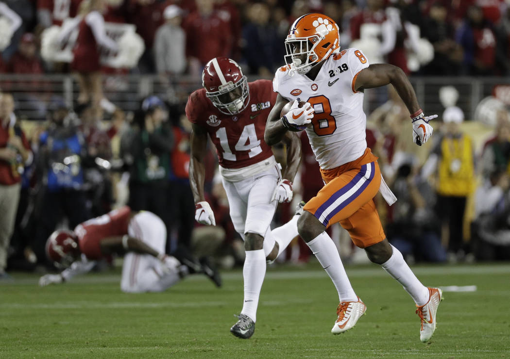 Clemson's Justyn Ross catches a touchdown pass during the second half of the NCAA college footb ...