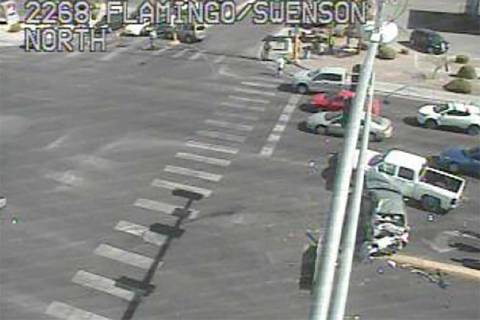 One person was injured in a multivehicle crash at Flamingo Road and Swenson Street, Thursday, M ...