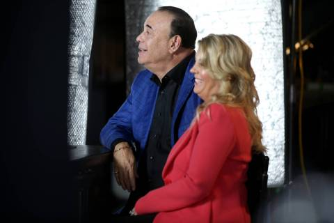 Bar Rescue host Jon Taffer and his wife, Nicole Taffer, between takes during filming at the Com ...