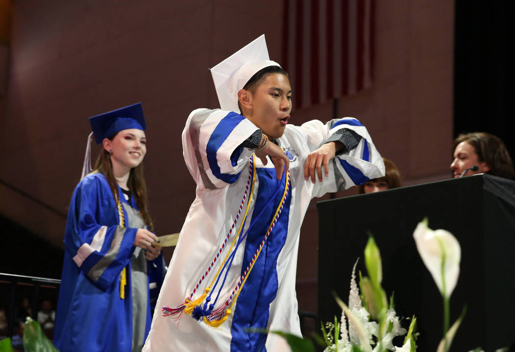 College of Southern Nevada High School student Carl Tiglao shows off his dance moves as he prep ...