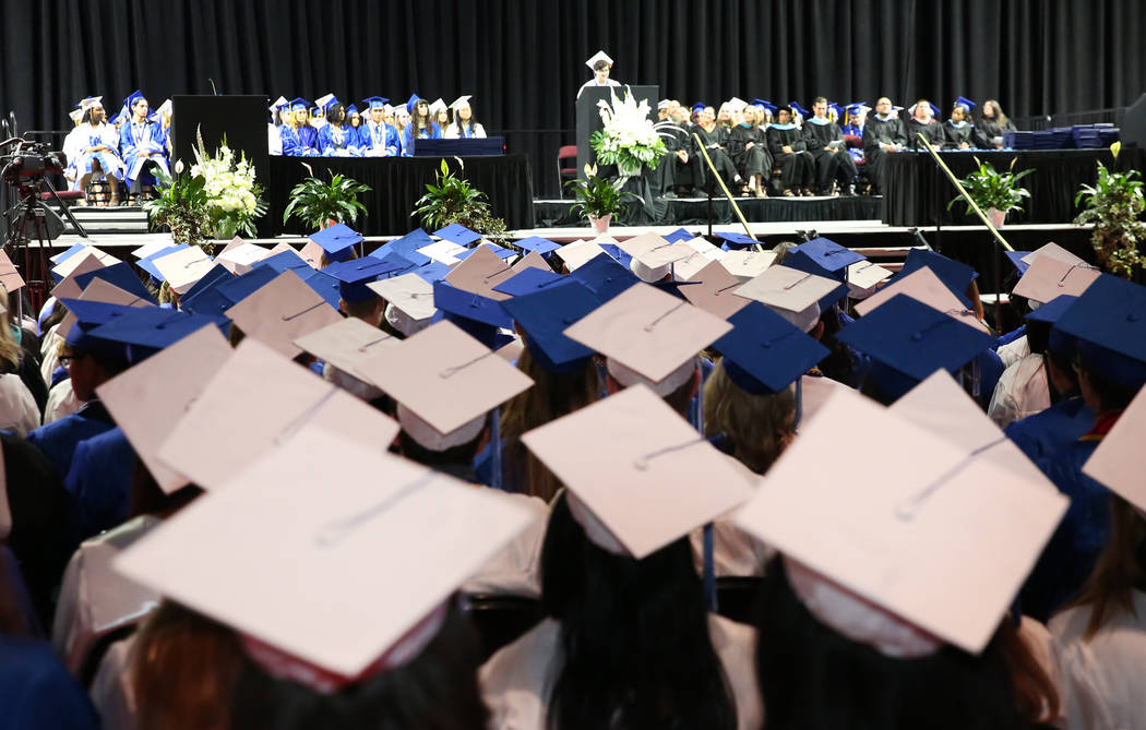 College of Southern Nevada High School students attend their graduation ceremony at the Orleans ...
