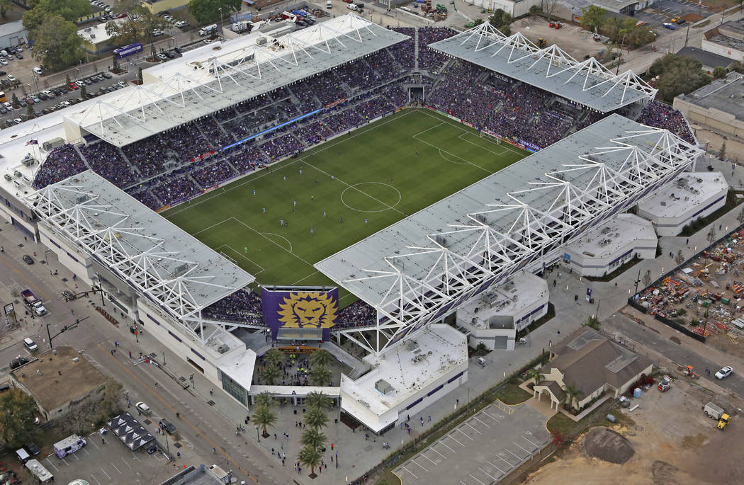 This Sunday, March 5, 2017 photo shows Orlando City SC's newly constructed stadium in Orlando, ...