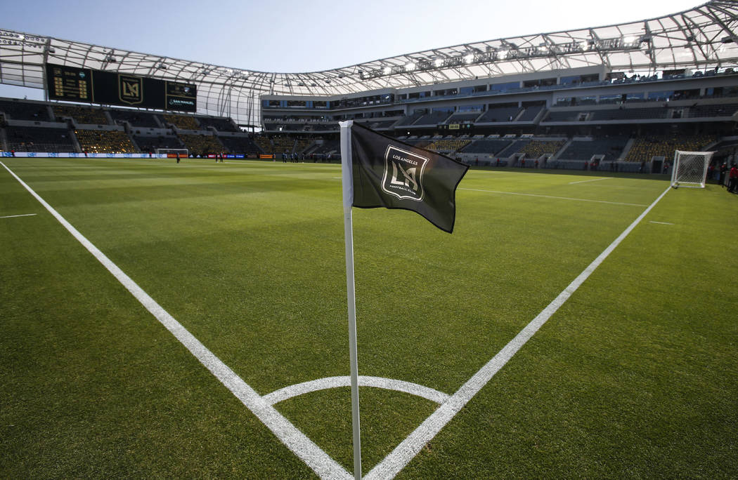 A corner flag stands at the field prior to an MLS soccer game between Los Angeles FC and Seattl ...