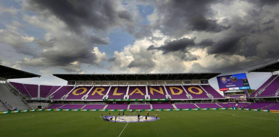 FILE - In this May 31, 2017, file photo, storm clouds gather before an MLS soccer game between ...