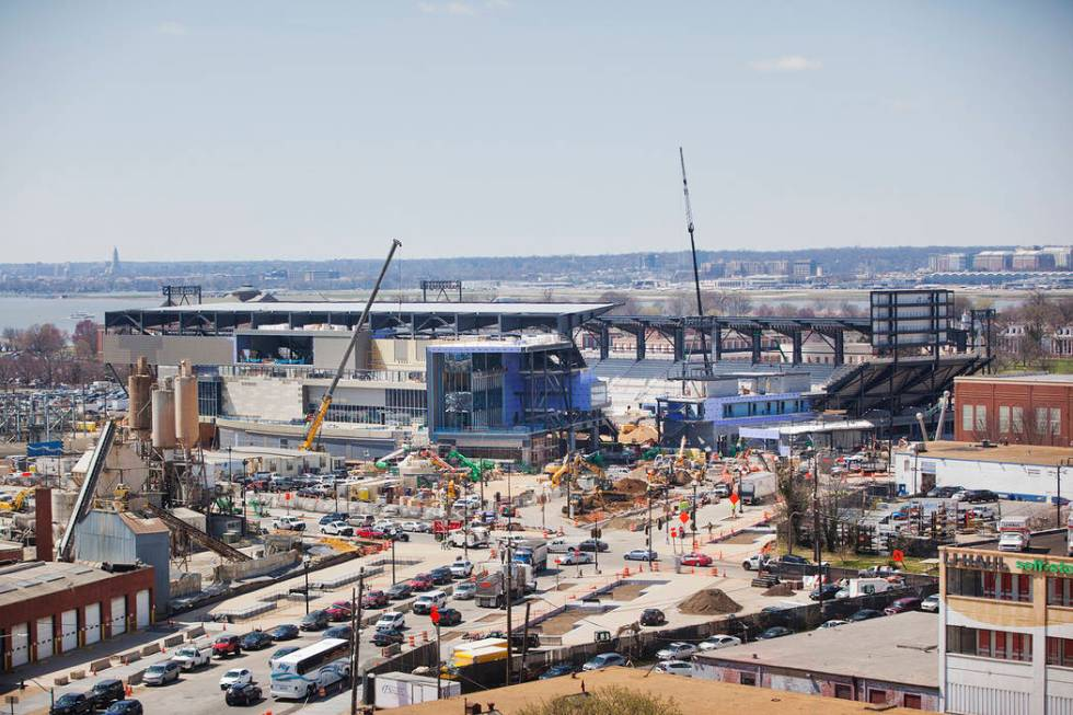 Construction of Audi Field, home of Major League Soccer team D.C. United, as seen from National ...