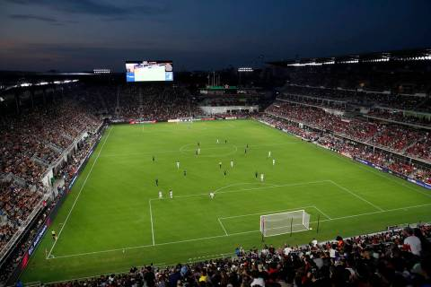 D.C. United and Vancouver Whitecaps play during the first half of an MLS soccer match, in this ...