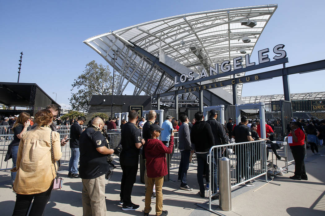 Fans line up for an MLS soccer game between Los Angeles FC and Seattle Sounders at the new Banc ...