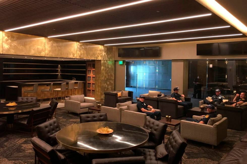 In this Thursday, April 26, 2018, photo shows a suite in the Club level at Banc of California S ...