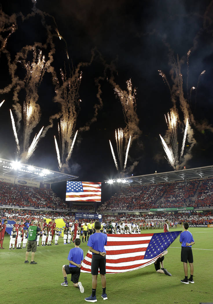 Fireworks explode over Orlando City Stadium during the U.S. national anthem before the team's W ...