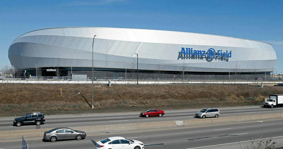 In this March 26, 2019, photo, the new stadium of the Minnesota United FC Loons is shown in St. ...